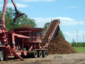 Regrinding mulch creating a great finished product to any Door County landscape.